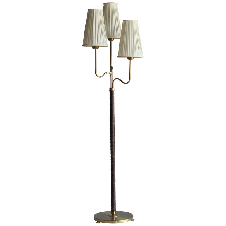 Hans Bergström, Rare Floor Lamp, Brass, Leather, Fabric, ASEA, Sweden, 1946 For Sale