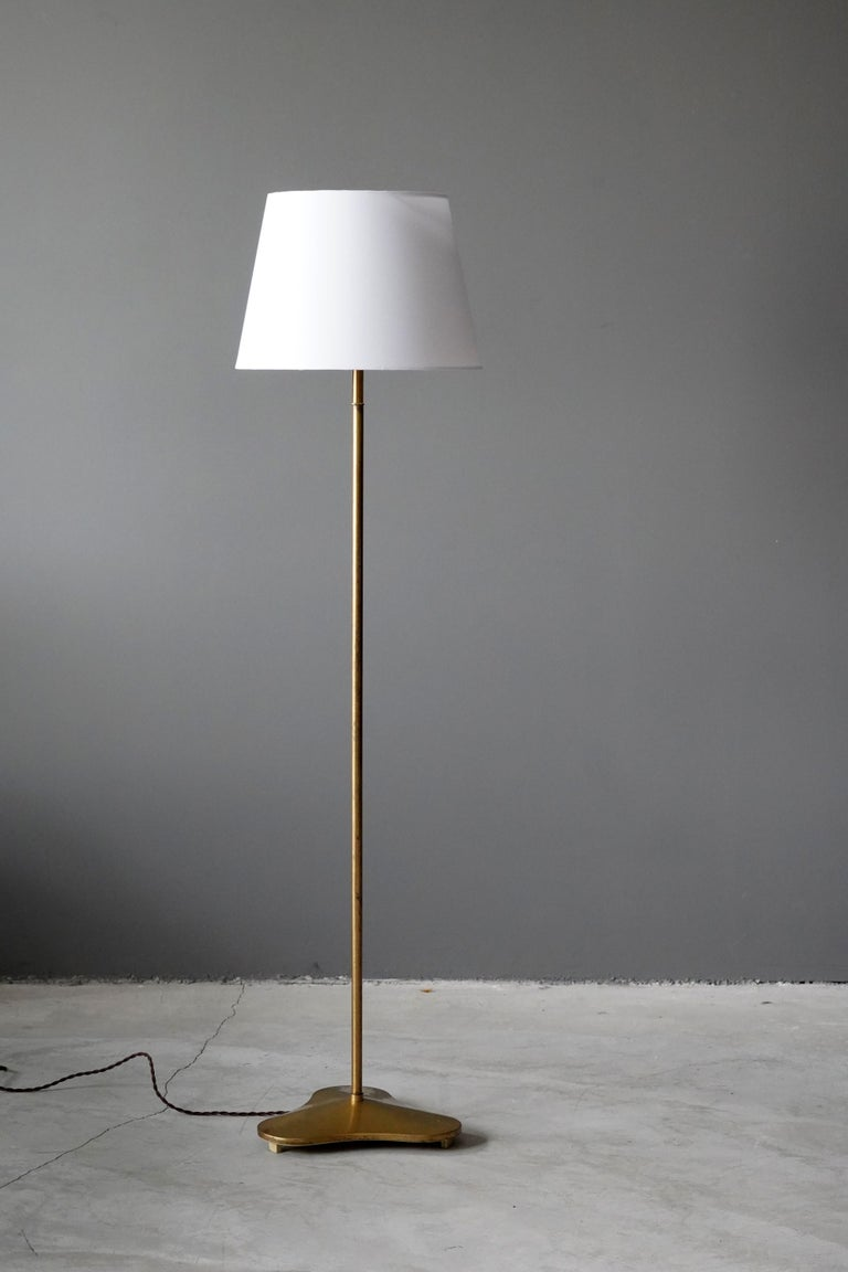 A rare floor lamp, produced by ASEA, Sweden, 1940s. Stamped. Design attributed to Hans Bergström.  Features an organic base.   Sold without lampshade, stated measurements excluding lampshade.  Other designers of the period include Paavo