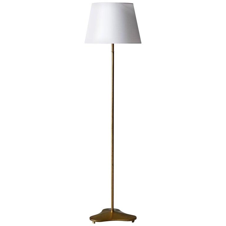 Hans Bergström, Rare Floor Lamp with Organic Base, Brass, ASEA, Sweden, 1940s For Sale