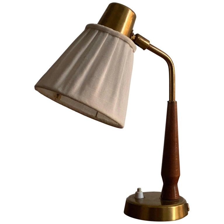 Hans Bergström, Small Table Lamp Wood Brass, Fabric, Ateljé Lyktan, Sweden 1940s For Sale