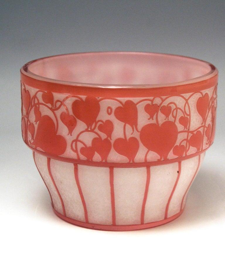 Art Nouveau Hans Bolek Vienna Loetz Bowl Opaline Glass with Salmon Pink, circa 1915 For Sale