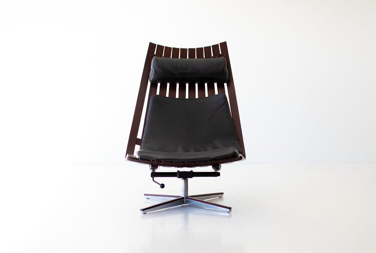 Leather Hans Brattrud Rosewood Lounge Chair for Hove Mobler For Sale
