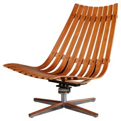 Hans Brattrud Rosewood Pivot Lounge Chair