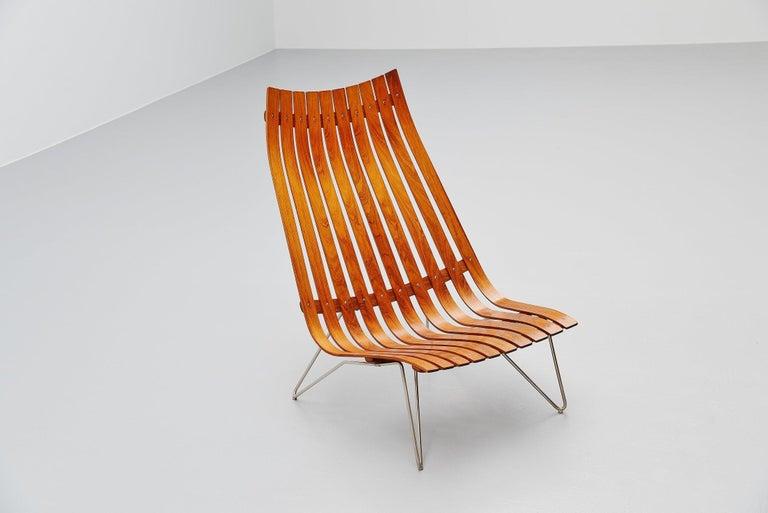 Scandinavian Modern Hans Brattrud Scandia Lounge Chair Hove Mobler Norway, 1957 For Sale