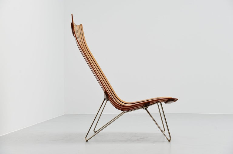 Metal Hans Brattrud Scandia Lounge Chair Hove Mobler Norway, 1957 For Sale