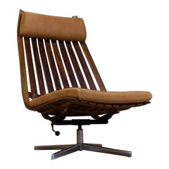 Hans Brattrud Scandia Swivel Chair New Upholstered Leather and Rosewood 1959
