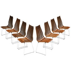 Hans Brattrud Set of Eight 'Scandia' Dining Chairs in Rosewood