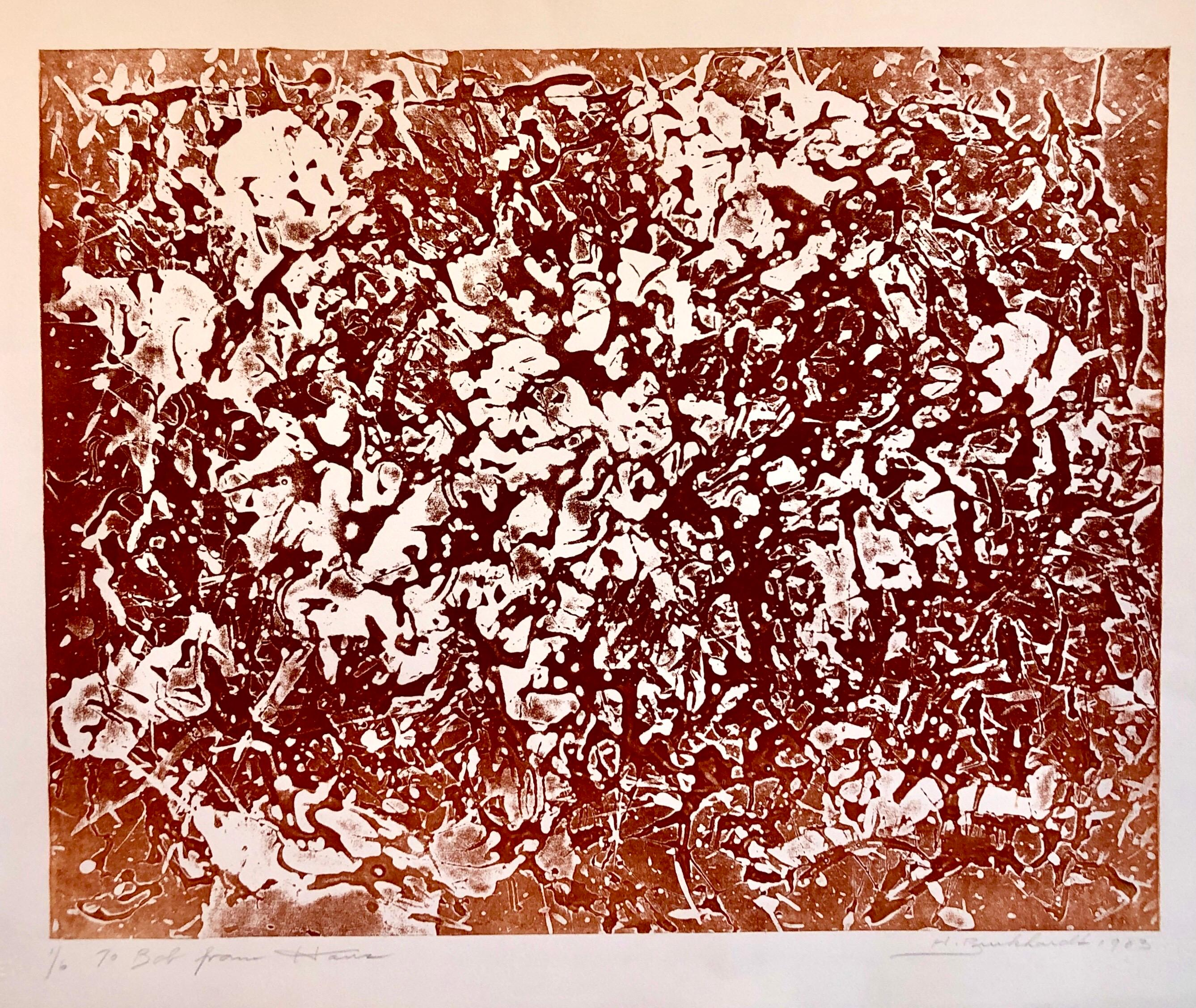 California Abstract Expressionist Linocut Lithograph Sepia Print Edition of 6