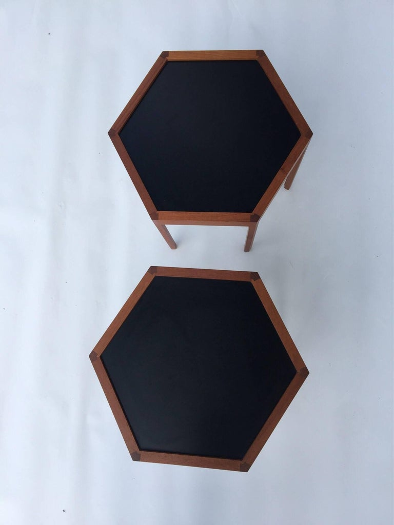 Scandinavian Modern Hans C. Andersen for Arturo Teak Hexagonal Side Tables For Sale