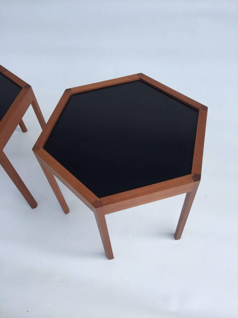 Danish Hans C. Andersen for Arturo Teak Hexagonal Side Tables For Sale