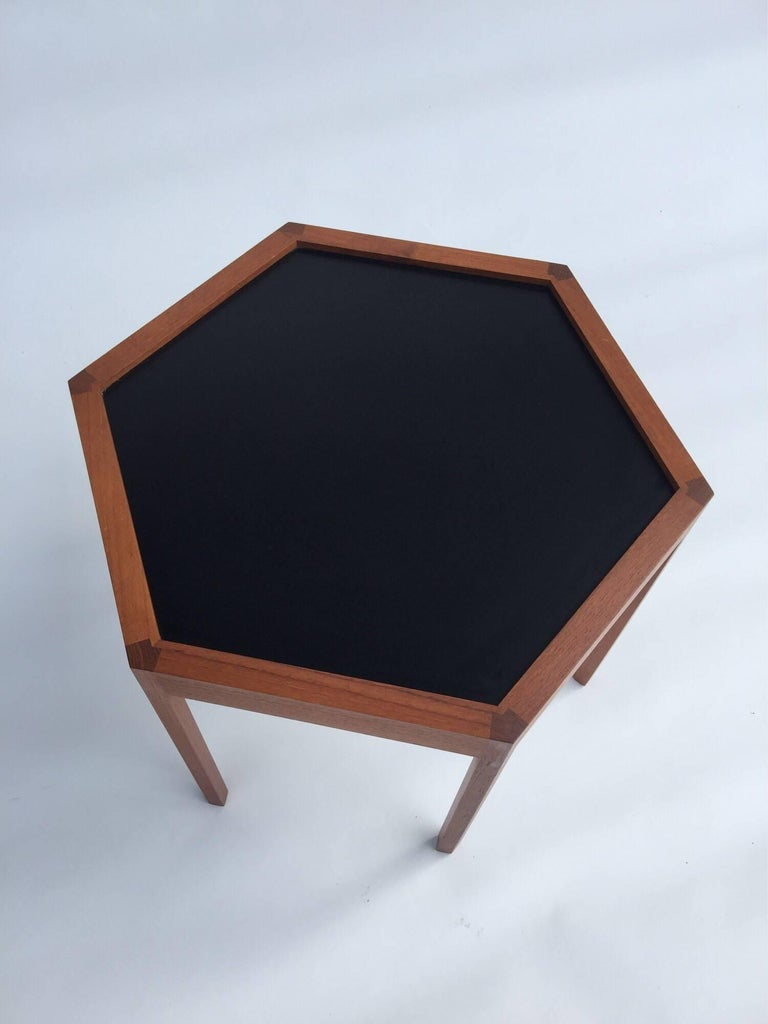 Hans C. Andersen for Arturo Teak Hexagonal Side Tables In Good Condition For Sale In Brooklyn, NY