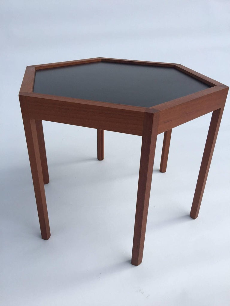 Formica Hans C. Andersen for Arturo Teak Hexagonal Side Tables For Sale