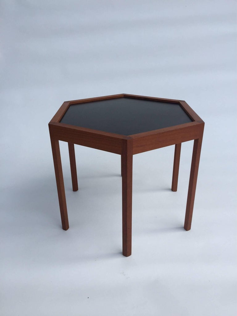 Hans C. Andersen for Arturo Teak Hexagonal Side Tables For Sale 1