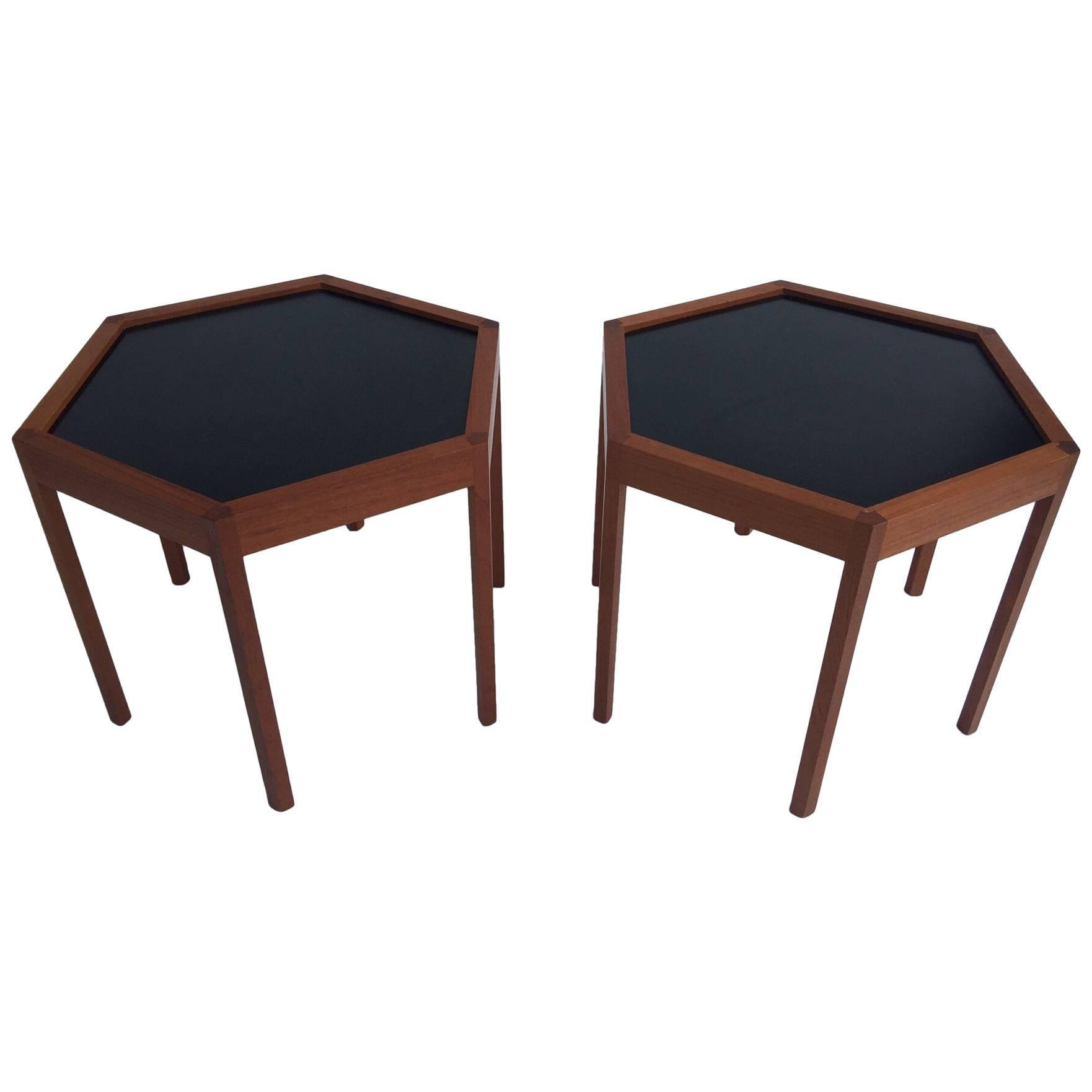 Hans C. Andersen for Arturo Teak Hexagonal Side Tables