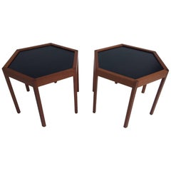 Hans C. Andersen for Arturo Teak Hexagonal Side Tables