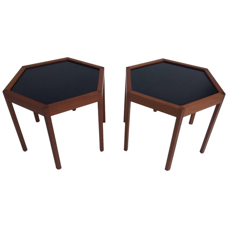 Hans C. Andersen for Arturo Teak Hexagonal Side Tables For Sale