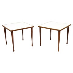 Hans C Andersen Teak Wood White Formica Tapered Hour Glass Snack Tables - a Pair