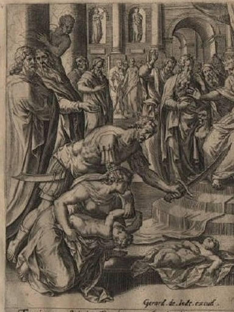 603f51e8885c Solomon s Wise Judgment - 1585 Old Master Engraving Religious - Print by  Hans Collaert the Elder