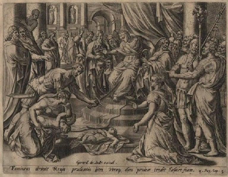 8fbe7b273933 Hans Collaert the Elder. Solomon s Wise Judgment - 1585 Old Master Engraving  Religious