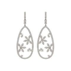 Hans D. Kreiger Diamond and 18 Karat White Gold Earrings
