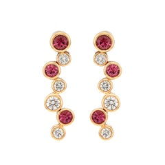 Hans D. Kreiger Diamond and Pink Tourmaline Earrings