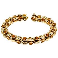Hans D. Krieger Citrine Diamond and Gold Link Bracelet