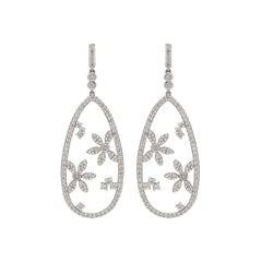 Hans D. Krieger Diamond and 18 Karat White Gold Earrings