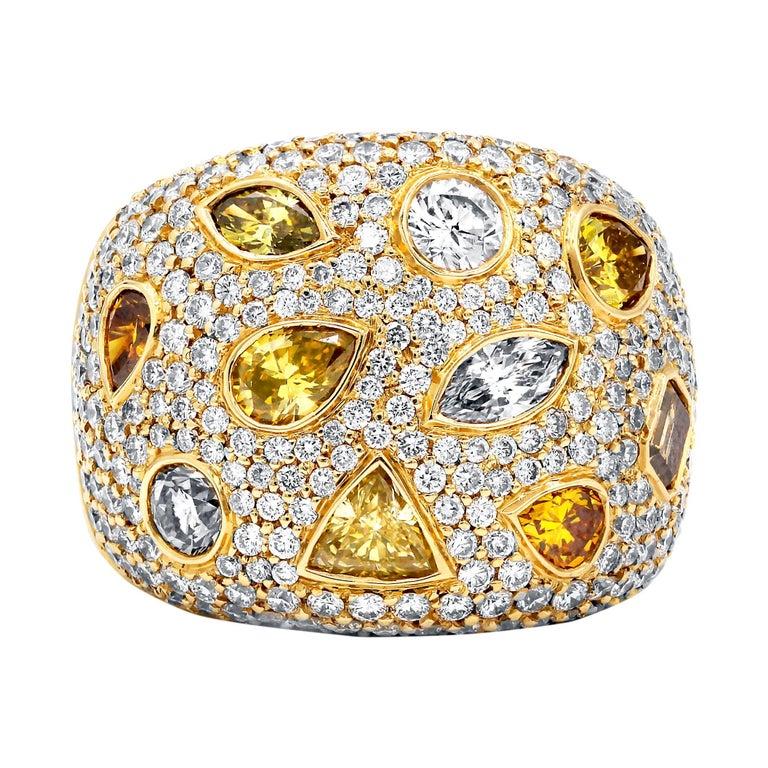 Hans D. Krieger Fancy Diamond Gold Ring
