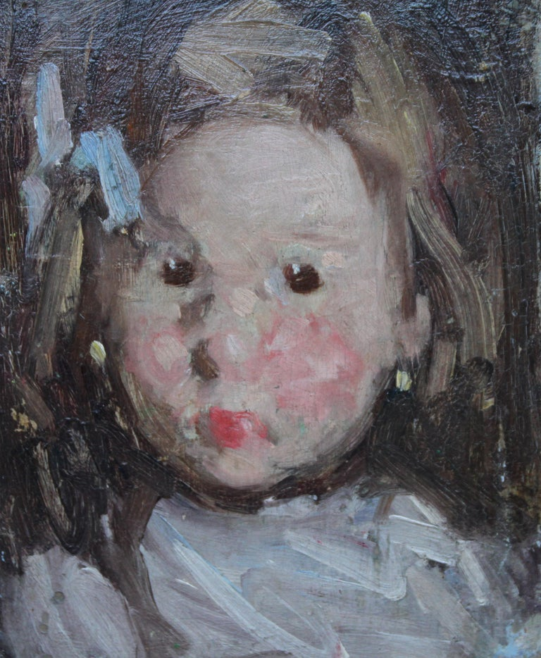 Portrait of a Child with Blue Bow - Norwegian 19thC Impressionist oil painting - Gray Portrait Painting by Hans Dahl