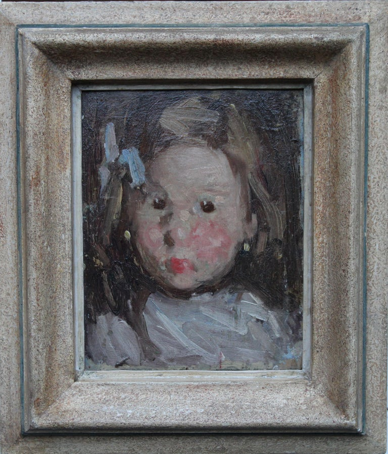 This petite but beautiful oil on panel portrait is by Norwegian artist Hans Dahl of Hardanger in Norway. Painted circa 1890, the work depicts the head and shoulders of a ruby cheeked young child with a blue bow in her hair. The brush work is