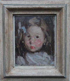 Portrait of a Child with Blue Bow - Norwegian 19thC Impressionist oil painting