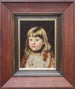 Portrait of a Young Girl - Norwegian 19th century Impressionist art oil painting