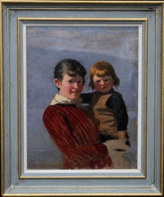 Portrait of Sisters - Norwegian 19th century Impressionist oil painting