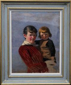 Portrait of Sisters - Norwegian art 19th century Impressionist oil painting