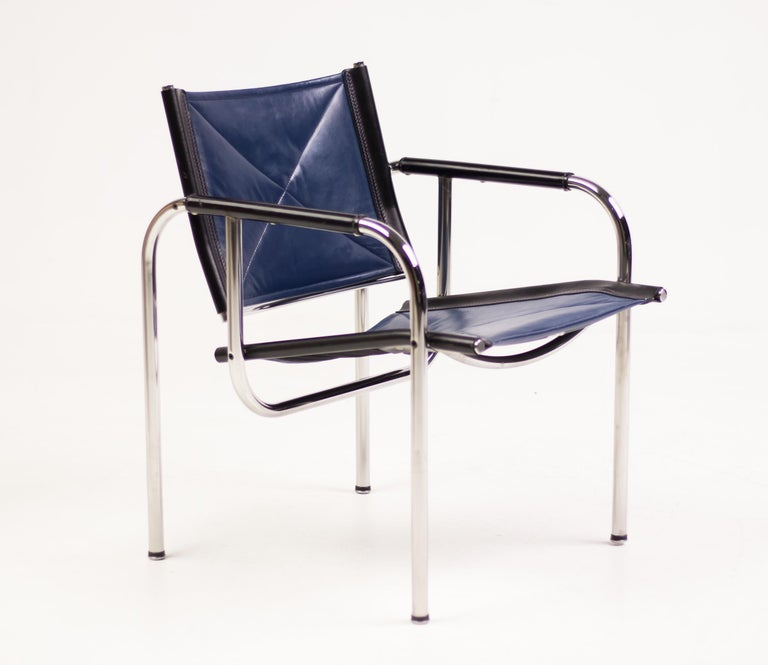Mid-Century Modern Hans Eichenberger Blue Leather Armchairs For Sale