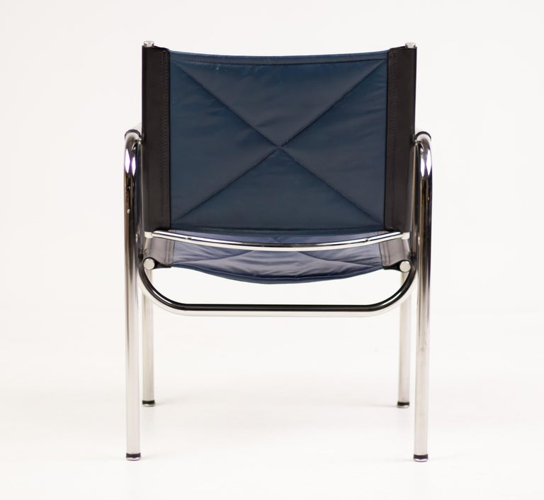 Steel Hans Eichenberger Blue Leather Armchairs For Sale