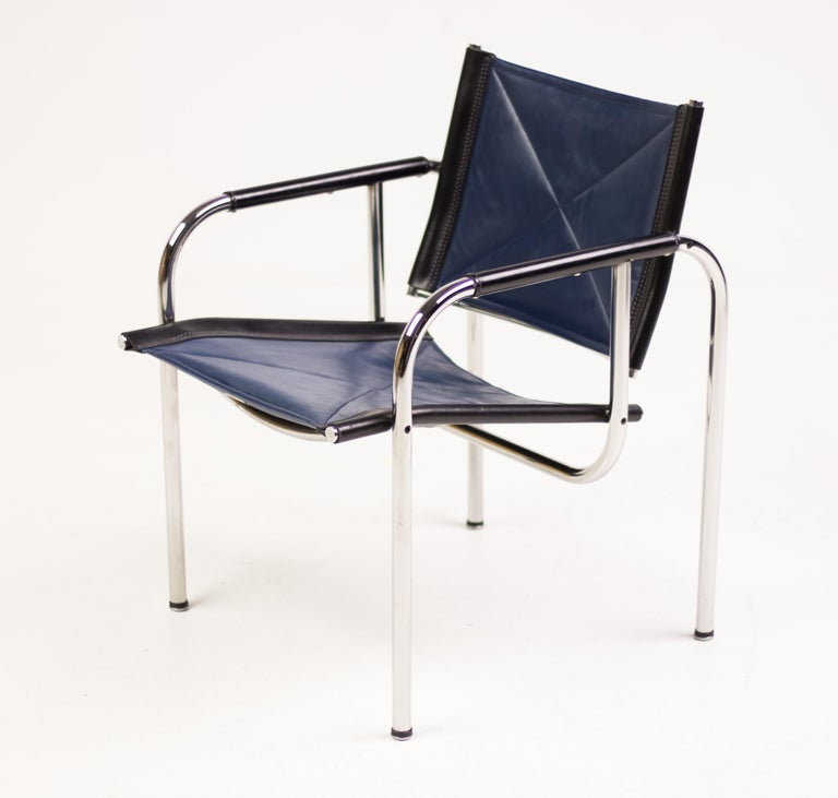 Hans Eichenberger Blue Leather Armchairs For Sale 1