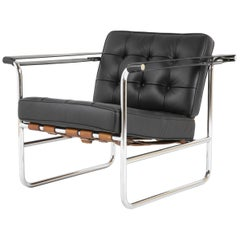 Black Leather Chair with Cognac Straps Designed By Karl Thut for Stendig,