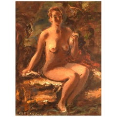 Hans Ekegardh, Swedish Artist, Oil on Canvas, Seated Nude Model