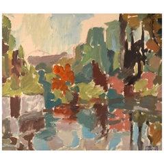 Hans-Erik Eriksson, Sweden, Modernist Landscape, Oil on Canvas, 1960s