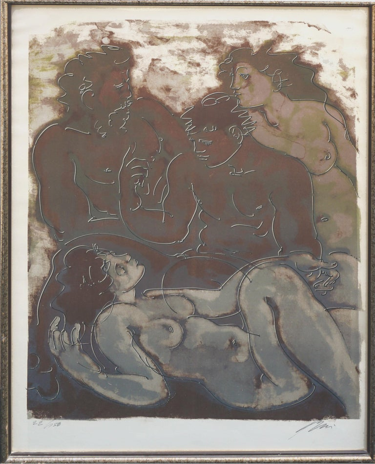Wonderful picture of four nude figures in sable brown and gray palette by Hans Erni (Swiss, 1909-2015) circa 1950. Signed in pencil by artist lower right corner.  #22/150 on lower left. Presented in platinum toned wood frame under glass. Image size: