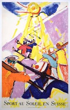 Original Poster Sport au Soleil en Suisse - Hans Falk Switzerland Alps Skiing