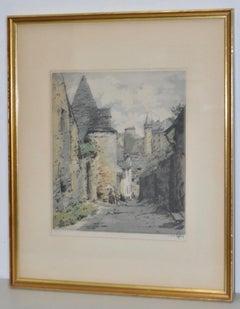 "Hans Figura ""Chateaux de Vitre"" Original Etching w/ Aquatint c.1940"