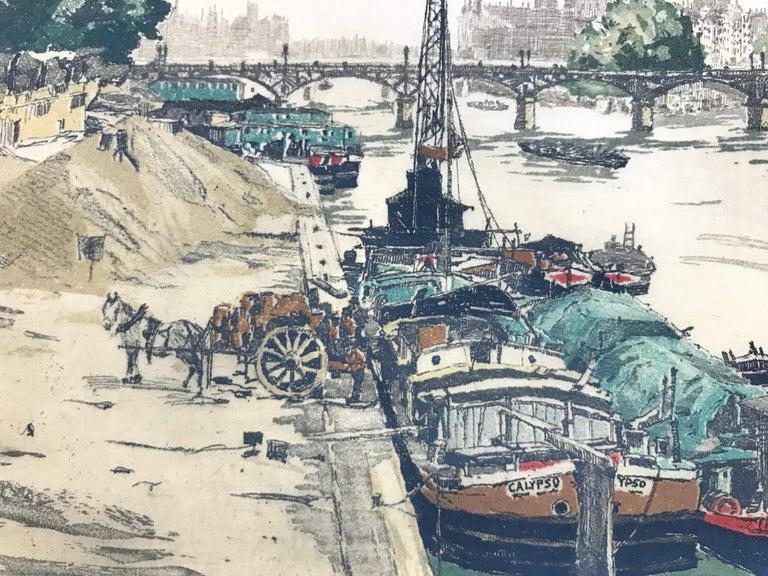 """""""On the Seine, Paris"""" - Gray Landscape Print by Hans Figura"""