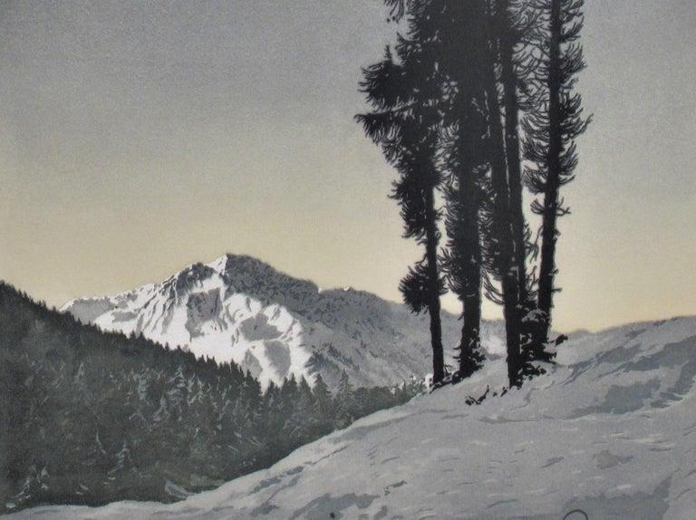 Winter Landscape - Realist Print by Hans Figura