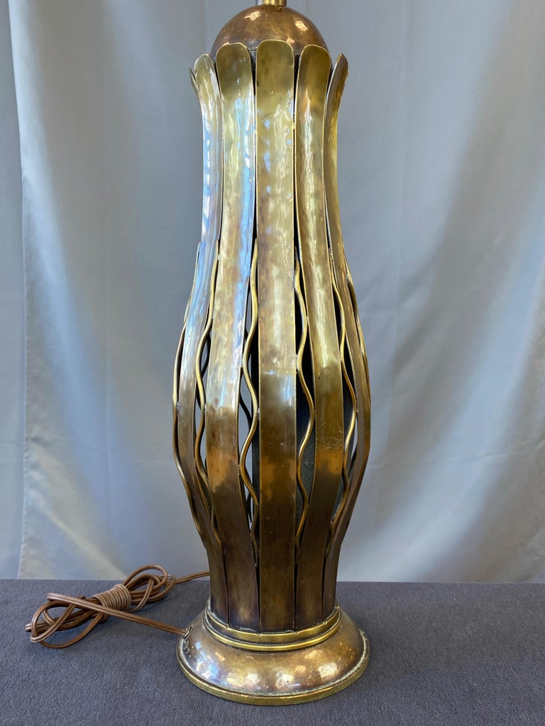 Hans Grag for Gump's Hammered Copper and Brass Table Lamp, 1950s For Sale 6