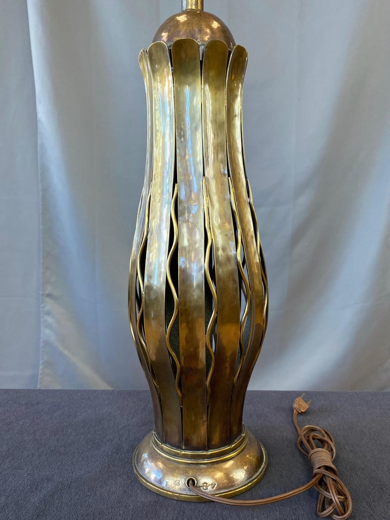 Hans Grag for Gump's Hammered Copper and Brass Table Lamp, 1950s For Sale 8