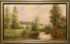 Antique Oil Painting by Hans Greinke, Atmospheric Landscape.