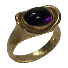 Hans Hansen 14 Carat Gold Ring with Amethyst