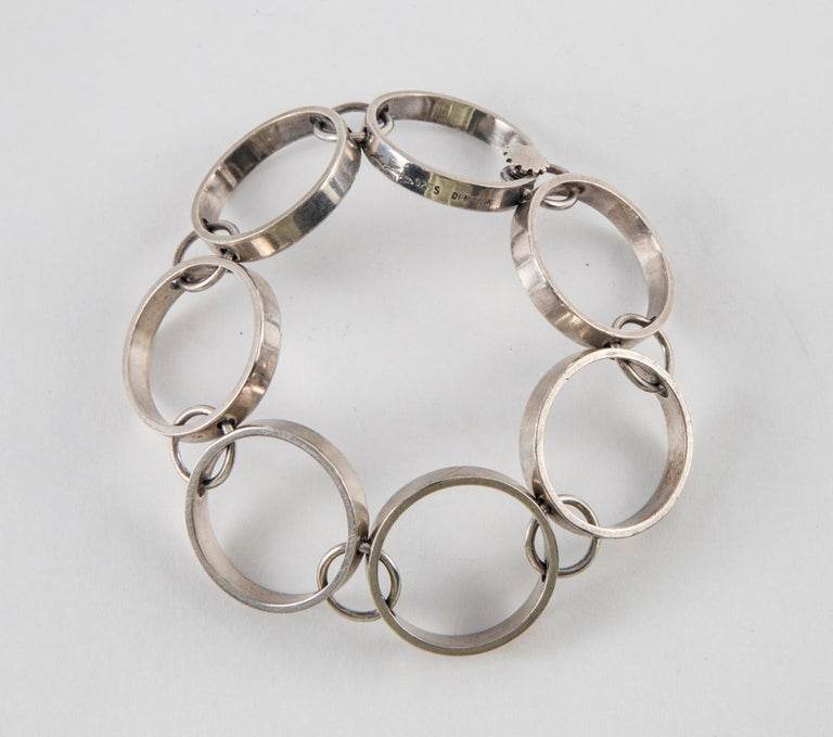 Women's or Men's Hans Hansen by Bent Gabrielsen Modern Sterling Silver Bracelet, 1970's For Sale